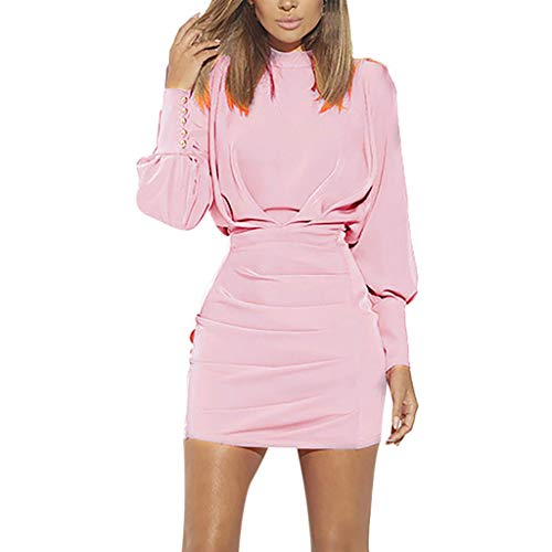 Sunhusing Women's Solid Color O-Neck Buttons Bundle Long Sleeve Dress Sexy Backless High Waist Mini Dress Pink -