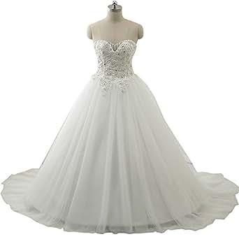 Yilian Sweetheart Pearls Beaded Princess Bride Gown Wedding Dress