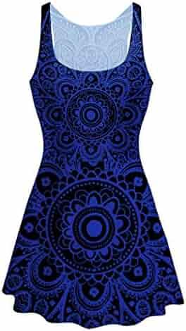 ee9878778dc UEANRFA Plus Size Sequin Dresses for Women Womens Fashion Summer Large  Printed Vest Dress 2019