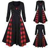 Lazapa Retro Dress for Women, V-Neck Waist Plaid
