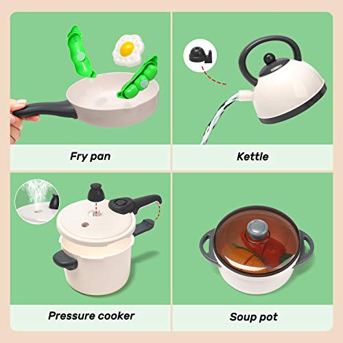 CUTE STONE Pretend Play Kitchen Toy with Cookware Steam Pressure Pot and Electronic Induction Cooktop, Cooking Utensils…