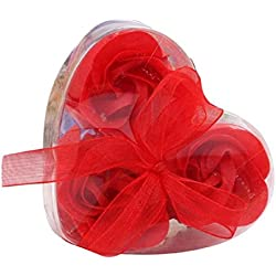 Jabón Flor tallada a mano, kemilove 3pcs perfumado Rose Flor Pétalos Baño Jabón boda fiesta regalo, Rojo, 1