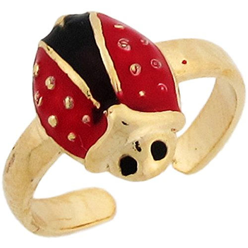 10k Real Yellow Gold Enamel Lady Bug Cute Ladies Toe Ring Gold Ladybug Toe Ring