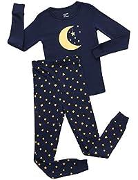 Boys Girls Moon Bee Fox 2 Piece Pajama Set Top & Pants PJ's 100% Cotton (Toddler-14 Years)