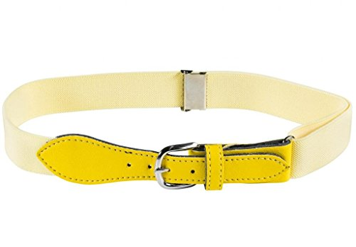 Kids Elastic Adjustable Belt with Leather Closure - Banana Yellow