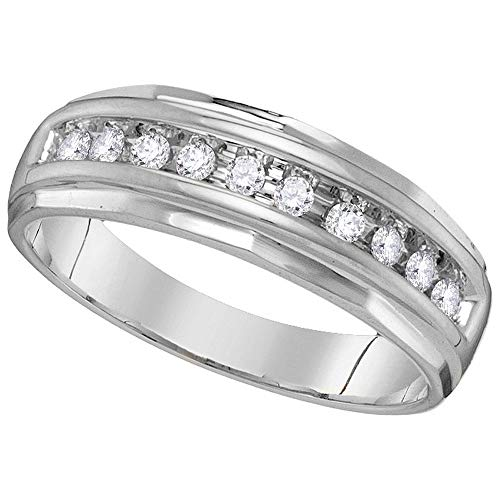 (14kt White Gold Mens Round Diamond Single Row Grooved Wedding Band Ring 1/4 Cttw)