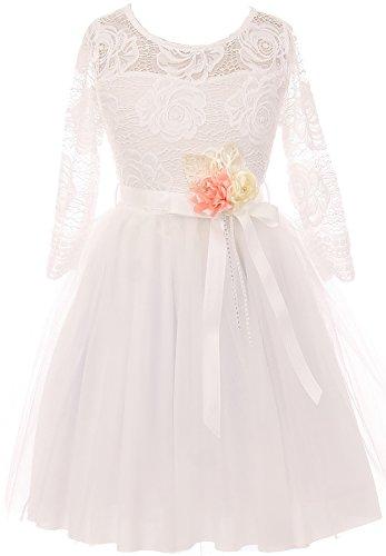Little girl floral lace top tulle flower holiday party flower girl flower girl dress usa off white 4 jks 2098 mightylinksfo