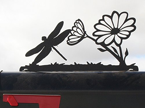 Plaque Mailbox (Garden Flower and Dragonfly Metal Mailbox Topper)