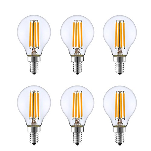 KION 6 Packed, 4 Watt Dimmable LED Filament Round Light Bulb, 2700K Warm White 350LM, E12 Candelabra Base Lamp, 40W Incandescent Replacement, UL Listed
