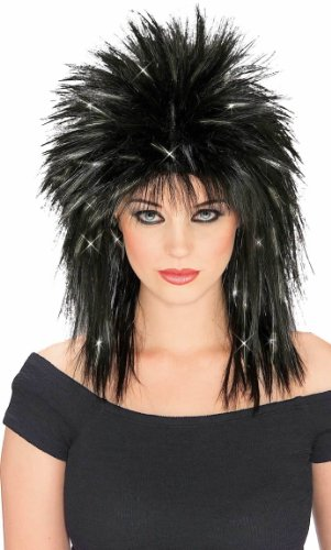 The 80s Costumes (Rubie's Costume Rockin Diva Wig with Tinsel, Black/Silver, One Size)