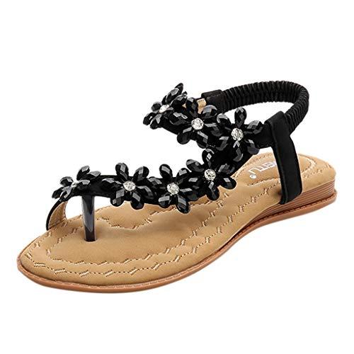 ◕‿◕Watere◕‿◕ Women's Elastic Sparkle Flip Flops Summer Beach Thong Flat Sandals Shoes Summer Bohemia Clip Toe Sandals Black