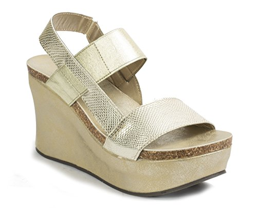 Strappy Dumas Pierre 8 Wedge Women's Hester Platform Gold Sandals qfw4W1wIa