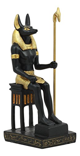 Ebros Ancient Egyptian God Anubis Sitting On Throne Statue Deity Lord of The Dead Mummification Afterlife Decorative Ancient History Figurine