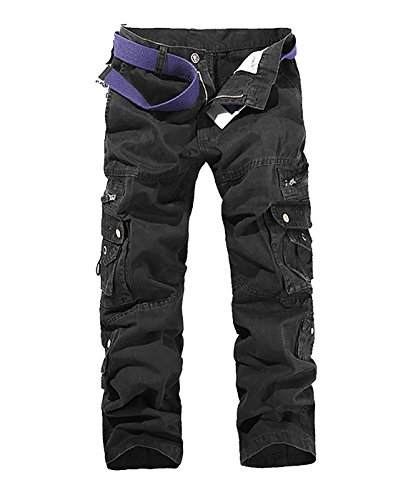 MAGE MALE Men's Cargo Combat Work Trousers Outdoor Military Army Loose Fit Pants with 8 Pocket Cotton Black 32
