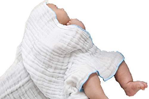 Baby Muslin Washcloths, Baby Washcloths, White Washcloths, Face Cloths, Infant Washcloths, Muslin Washcloth, Bath Washcloths,Soft Washcloths, Reusable Wipes, Washclothes Cotton (Blue)