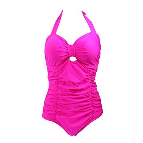 HDE Women's Retro One Piece Swimsuit Plus Size Padded Halter Vintage Swimsuit (Pink Ruched Monokini, XX-Large)