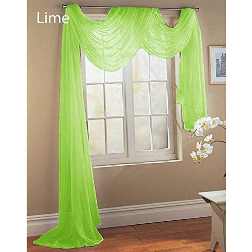 Comfy Deal Beautiful Elegance Fully Stitched Window Sheer Voile Scarf Curtain (Lime Green) (Curtain Panels Lime Green)