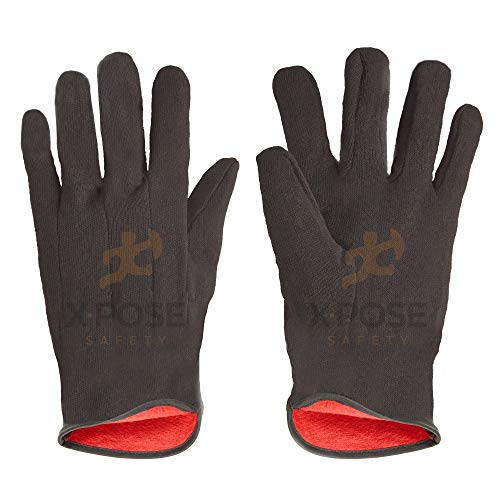Protective Work Gloves - 12 Pack For Industrial Labor, Home and Gardening 100% 14oz Cotton, Red Fleece Lining - Mens Large - Brown by Xpose Safety