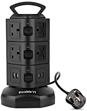DoubleYI Extension lead socket extension power extension 8 way outlet Surge Protection 8 Gang Power Strip with Retractable 3m/9.8Ft …