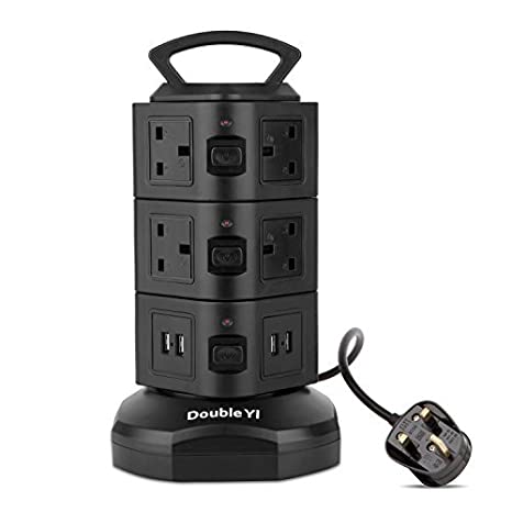 DoubleYI Extension Lead 4-USB Charging Port Surge Protection 6-Socket Extension Tower Power Strip with Retractable 3m/9.8Ft Power Extension Cord Lead and Switch DoubleYI-outlet