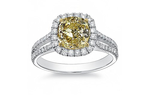 DIAMOND MANSION Natural Fancy Light Yellow Cushion Halo Split Shank Diamond Engagement Ring - GIA Certified (White-Gold, 2.20) (2 Carat Cushion Cut Diamond Actual Size)
