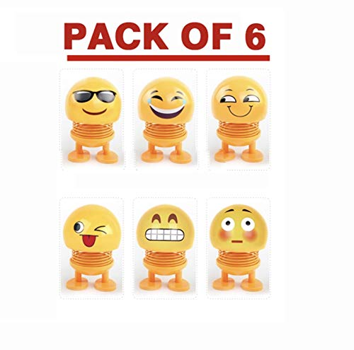 (BenOnline Spring Emoji Shaking Head Dolls Smiley Face Springs Dancing Toys Action Figures Bounce Toys for Car Dashboard/Home/Table Decor(Pack of 6))