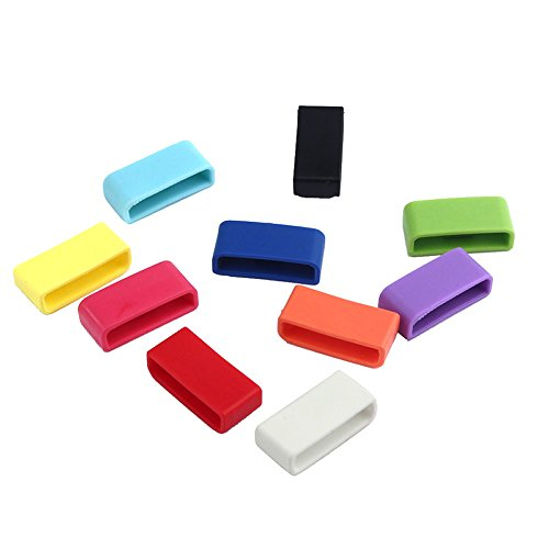 Fitbit Charge HR Silicon Fastener Ring Pinhen 10PCS Colorful Silicon Fastener Ring Accessories for Fitbit Charge/Fitbit Charge HR (10pcs Set Ring)