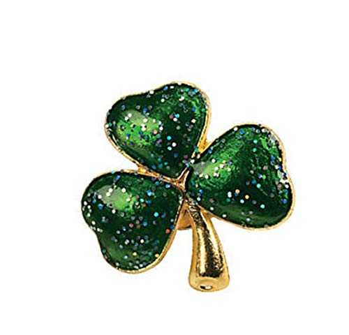 Green Metal Glitter Shamrock Lapel Pins Bulk (72 Count) St Patricks Day Favors
