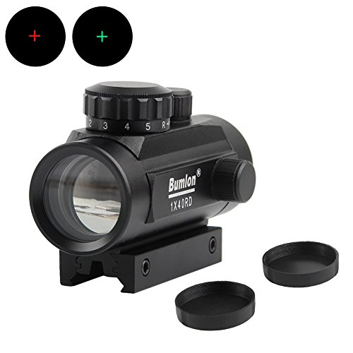 Bumlon Red Green Dot Sight Scope Reflex Holographic Rifle Optics Tactical Fits 11mm/20mm Rail for Airsoft (Cap Matte Black Military)