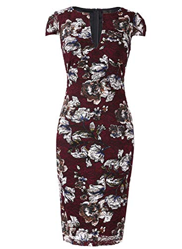 VFSHOW Lace Sheath Peplum Print V Deep Sexy Dress Bodycon Elegant Multi Floral Burgundy Neck Cocktail Womens nxrSCnwUA