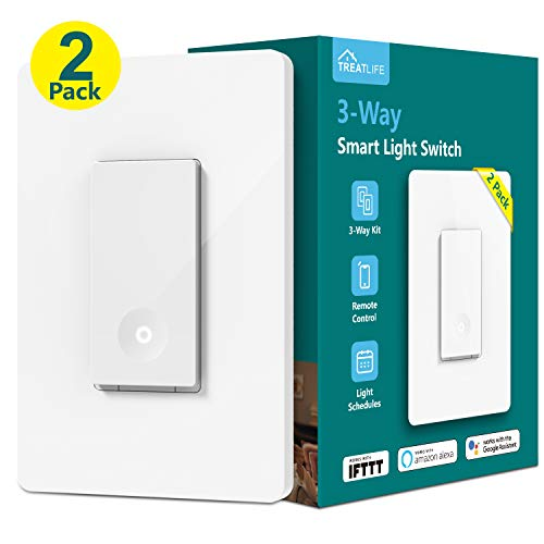 3-way Smart Light Switch, Treatlife WiFi Light Switch Single Pole/3-way Switch Works With Alexa, Google Assistant and IFTTT, Remote Control, ETL, Schedule, No Hub Required, Neutral Wire Required
