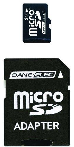 Dane Elec Camera Memory Cards (Dane-Elec 2 GB microSD Flash Memory Card with SD Adapter DA-2IN1-02G-R)