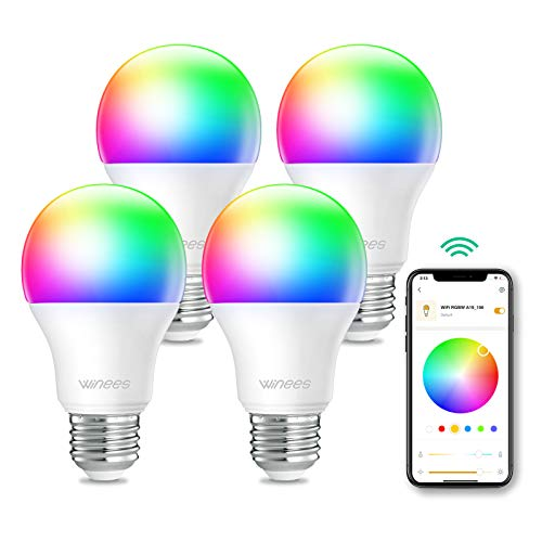 Smart Bulb,Alexa Light Bulbs Dimmable Wi-Fi RGBW Smart LED Colour Changing Bulbs Work with Alexa & Google Assistant for Home Lighting, Remote Control,Voice Control,No Hub Required,9.5W 800Lm