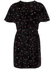 Calvin Klein Big Girls' Short Sleeve Fashion Dress, anthracite Velour, L12/14