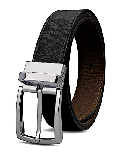XIANGUO Reversible belt black and brown leather with silver buckle (35 Mm Bridle)