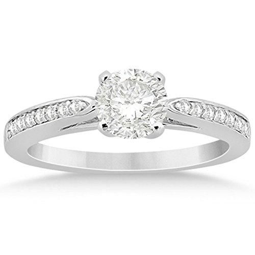 Petite Semi-Eternity Diamond Solitaire Engagement Ring w/ Round Side Stones Palladium (Round Solitaire Semi Eternity Ring)