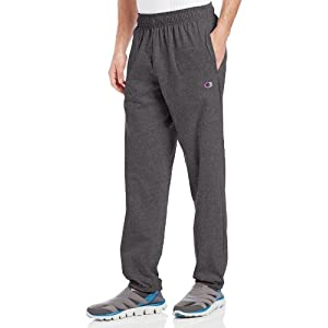 Champion Men's Closed Bottom Light Weight Jersey Sweatpant, Granite Heather, Large