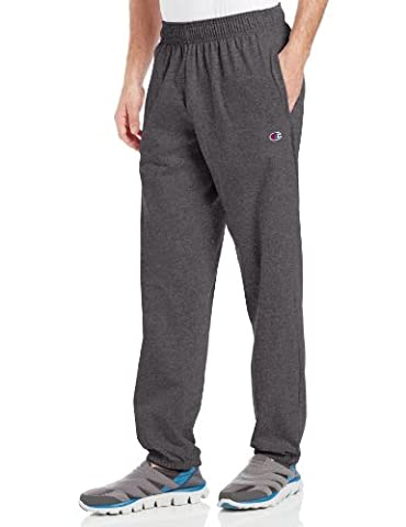 Champion Men's Closed Bottom Light Weight Jersey Sweatpant, Granite Heather, Large - Basketball Jerseys Heather