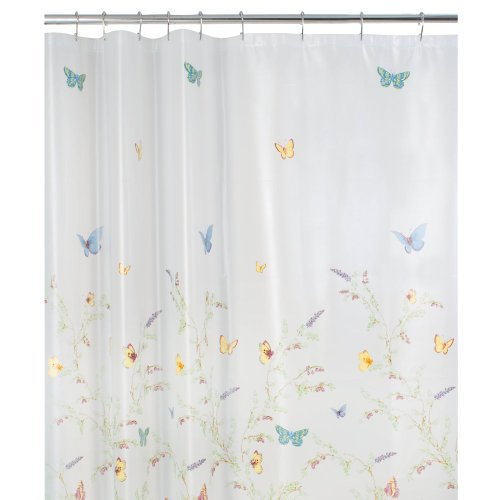 Rice Vinyl Shower Curtain - Maytex Garden Flight PEVA Shower Curtain(Butterfly), Multi