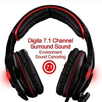 SADES SA903 7.1 Surround Sound Stereo Pro USB de la PC Gaming Headset Auriculares Diadema con micrófono Deep Bass Over-The-Ear Control de Volumen LED Luces ...