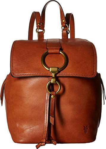 (FRYE Ilana Small Leather Backpack, Cognac)