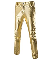 Men's Casual Metallic Moto Straight Leg Trousers