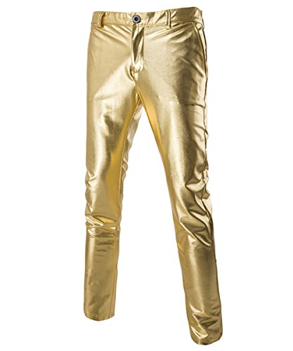 Boyland Mens Casual Night Club Metallic Moto Jeans Style Flat Front Suit Pants/Straight Leg Trousers -
