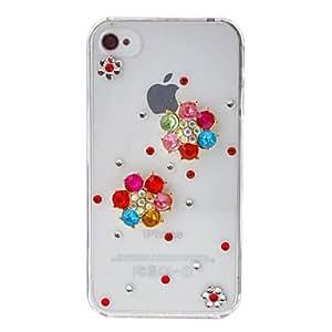 DUR Colorful Zircon 6 Petals Flower Transparent Back Case for iPhone 4/4S