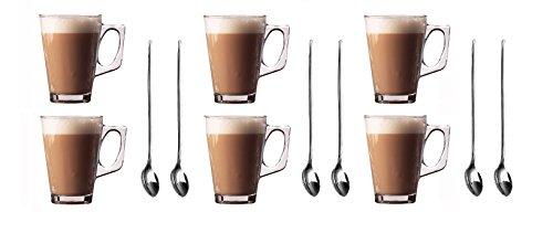Set von 6Premium Latte Macchiato Gläser Tassen, 250ml (,) + Gratis Packung 6langen Griff (19cm) Edelstahl Latte Löffel-ideal für Espresso, Cappuccino, Kaffee, Tee, heiße Schokolade, heiße Getränke, Tassimo & Dolce Gusto Kaffee Maschinen von Küche Sterne