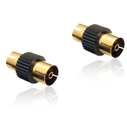 2 x dorado coaxial para antena de televisión hembra adaptador (F - F) cambiador