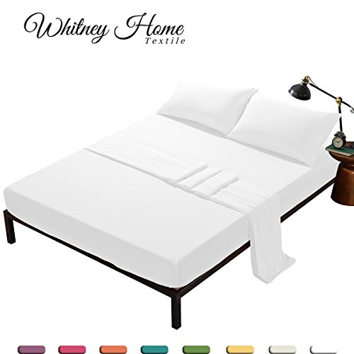 White Bed Sheets King 4 Pieces Set (1 Deep Pocket Fitted Sheet, 1 Flat Sheet, 2 Pillowcases) - Hotel Quality Soft Stone Washed Microfiber Bedding - Fade Stain Resistant Solid Mattress Protect Topper - Asian Sheet Set