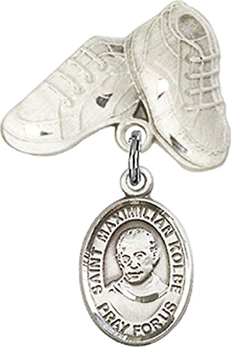 Sterling Silver Baby Badge Baby Boots Pin with Saint Maximilian Kolbe Charm, 3/4 Inch