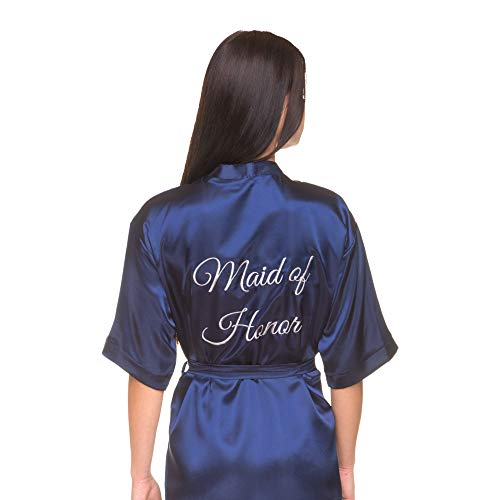 Satin Bridal, Bridesmaid, Maid of Honor, Flower Girl Robe with Titles Embroidered on The Back in Silver (Navy - Maid of Honor in Silver, XS-M)