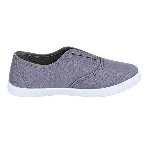 Ital-Design Damen Schuhe, AC-42, Freizeitschuhe Bequeme Slipper Grau